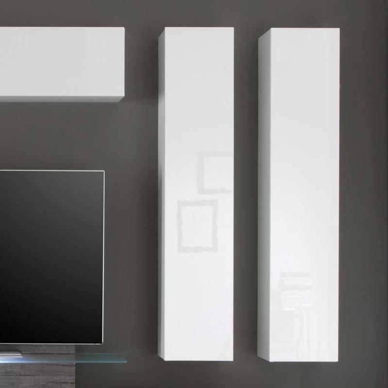 Design Wohnwand In Weiß Hochglanz Und Grau Eiche Dekor 230 Cm Breit von Designer Wohnwand Weiß Hochglanz Bild