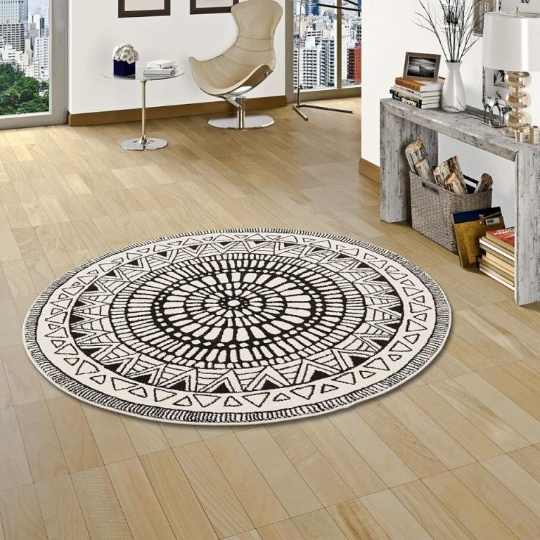Designer Teppich Sevilla Mandala Schwarz Weiss Rund  Kaufen Bei von Teppich Rund Schwarz Weiß Photo
