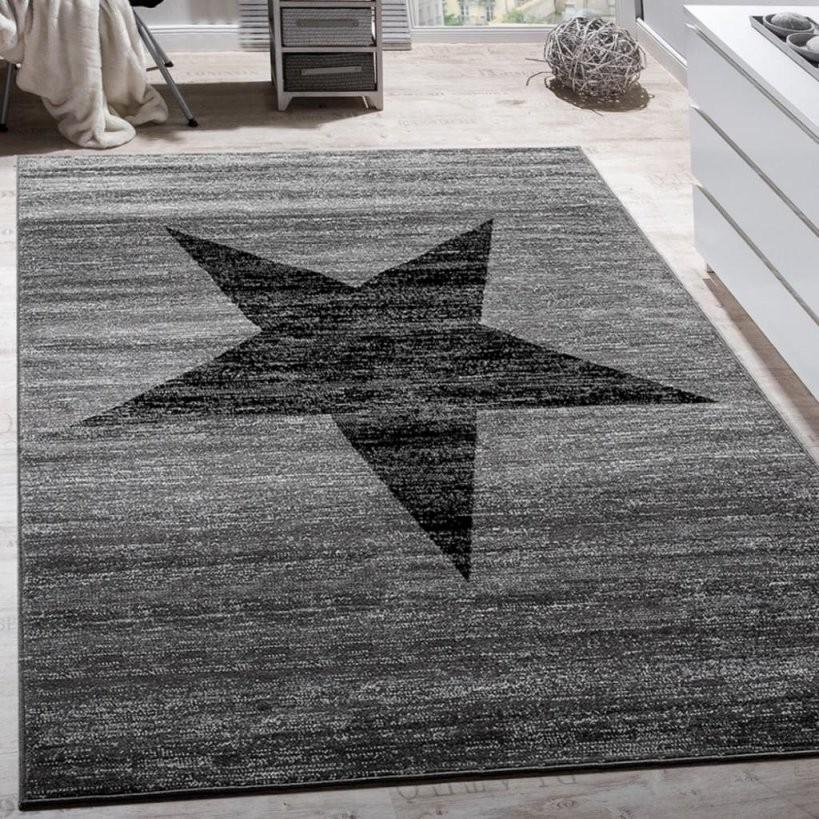 Designer Teppich Stern Muster Modern Trendig  Real von Teppich Mit Sternen Grau Bild