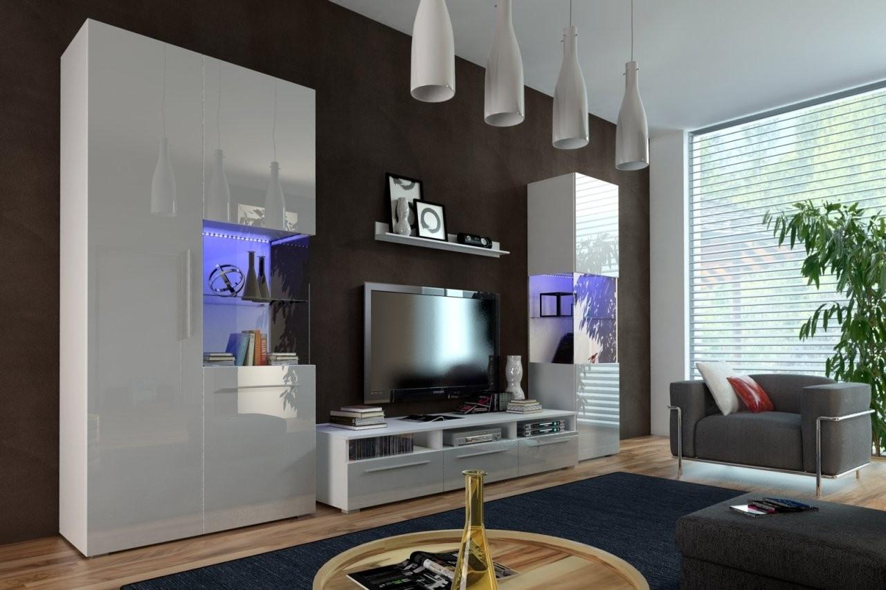 Designer Wohnwand Nicea I Hochglanz Weiß  Schwarz Mit Led von Designer Wohnwand Weiß Hochglanz Bild