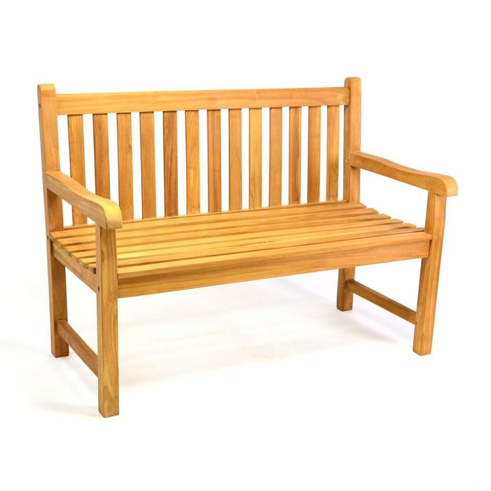 Divero 2Sitzer Gartenbank Parkbank Hochwertig Teak Holz Behandelt 120Cm von Gartenbank Holz 120 Cm Bild