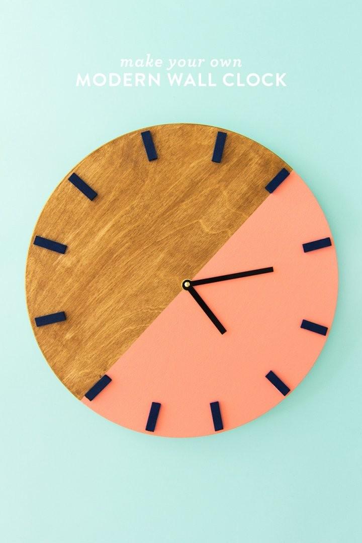 Diy Colorblock Wall Clock  Sarah Hearts von Make Your Own Clock Bild