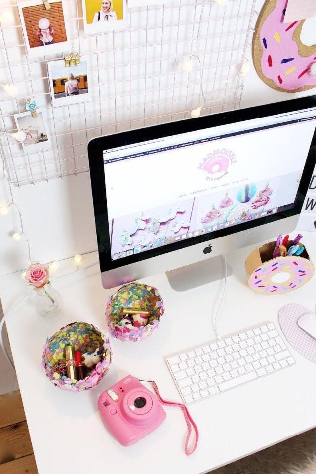 Diy Fotowand Selber Machen  Schreibtisch Deko Basteln  Dream Room von Schreibtisch Deko Selber Machen Photo