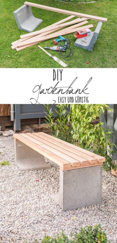 Diy  Gartenbank Mit Beton Und Holz  Tipps Zum Gärtnern  Garten von Gartenbank Selber Bauen Einfach Photo