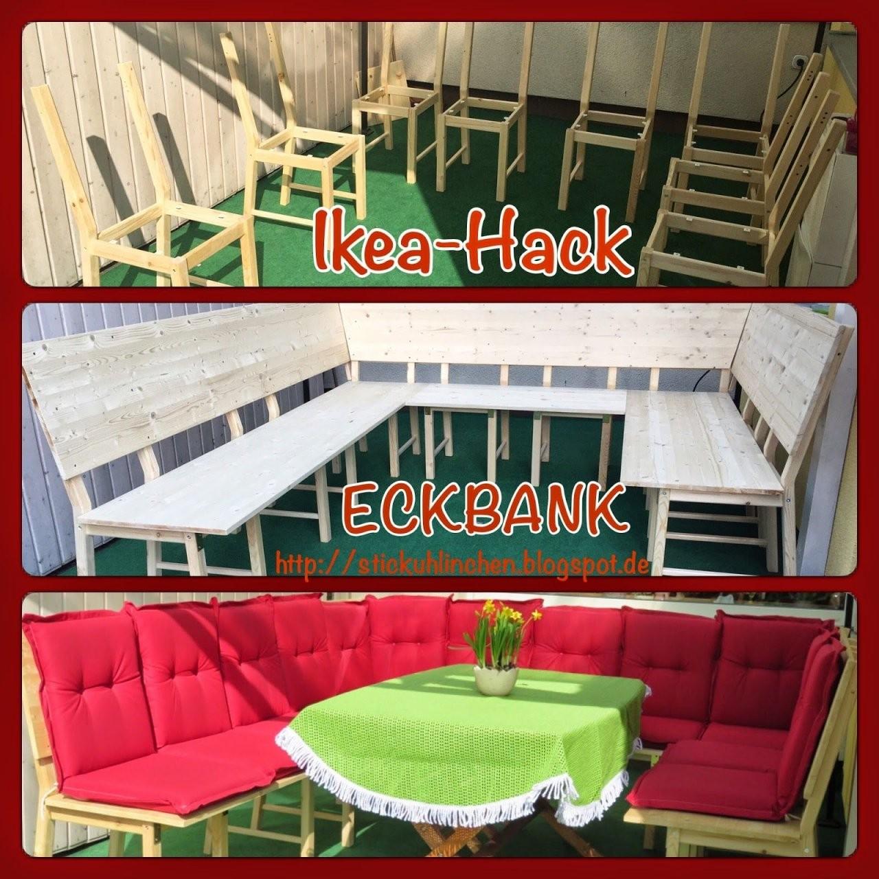 Diy Ikea Hack  Aus 8 Stühlen Wird Eine Große Eckbank Bzw Lounge von Eckbank Selber Bauen Ikea Bild