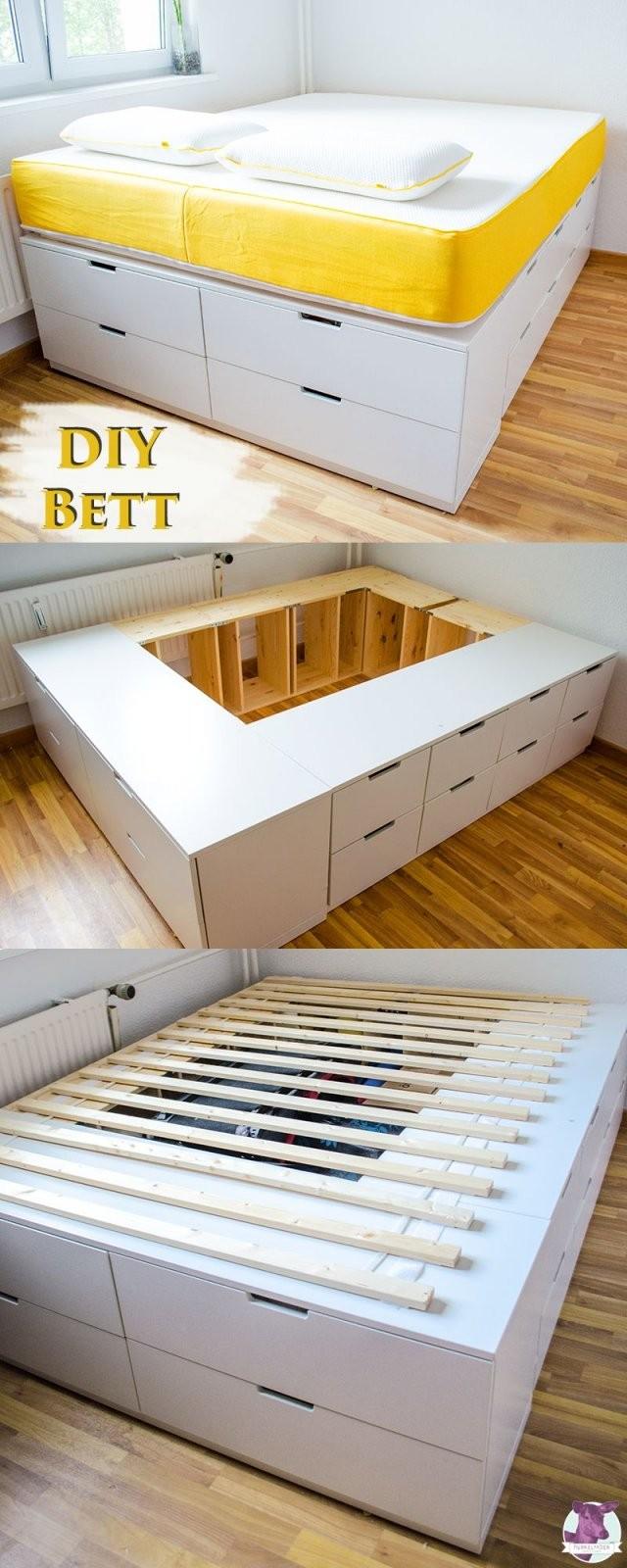 Diy Ikea Hack  Plattformbett Selber Bauen Aus Ikea Kommoden von Bett Bauen Mit Stauraum Bild