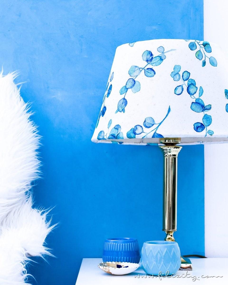 Diy Lampenschirm Basteln Aus Leinwand Mit Aquarell  Filizity von Bild Auf Leinwand Selber Machen Bild