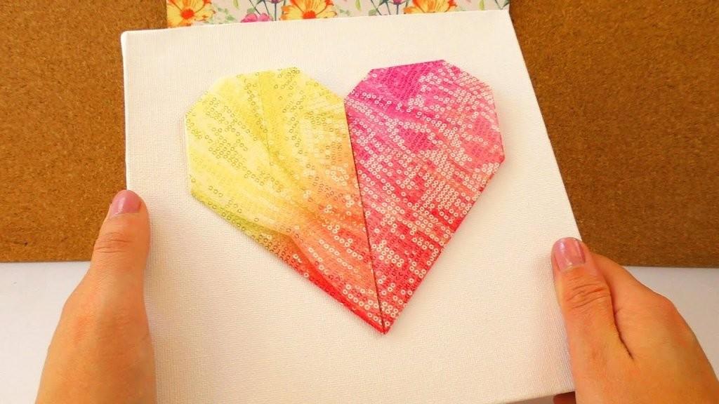 Diy Leinwand Mit Origami Herz Tolle Deko  Geschenk Idee Einfach von Bild Auf Leinwand Selber Machen Bild