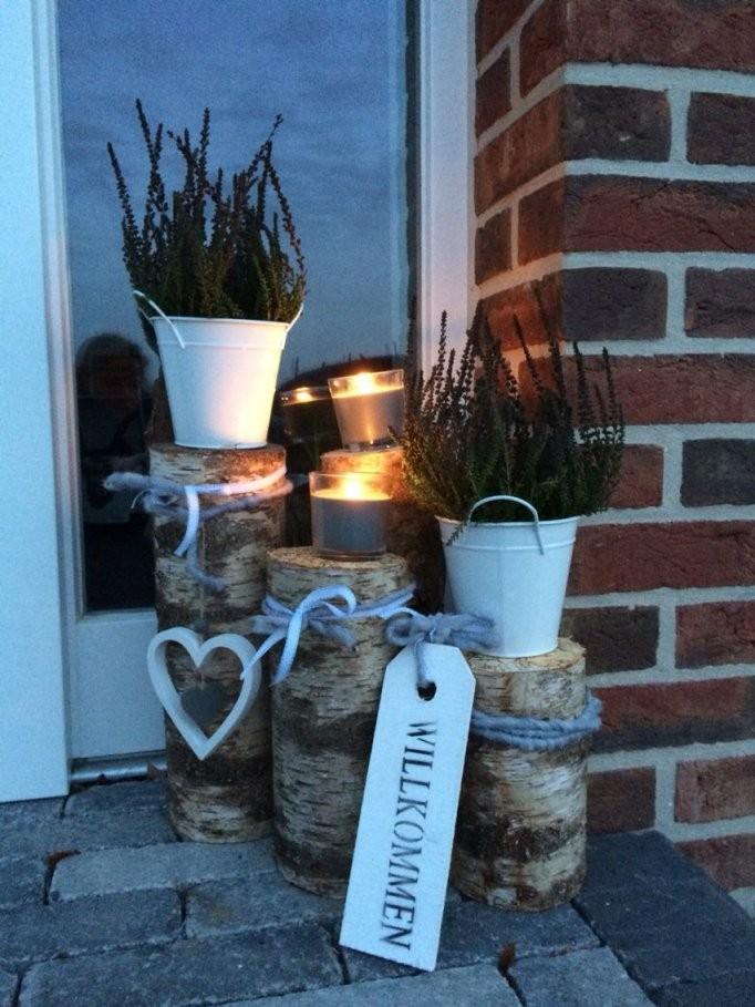 Diy Lichterkette Kerzen Für Den Karten Lichter Im Garten von Deko Ideen Vor Der Haustür Frühling Bild