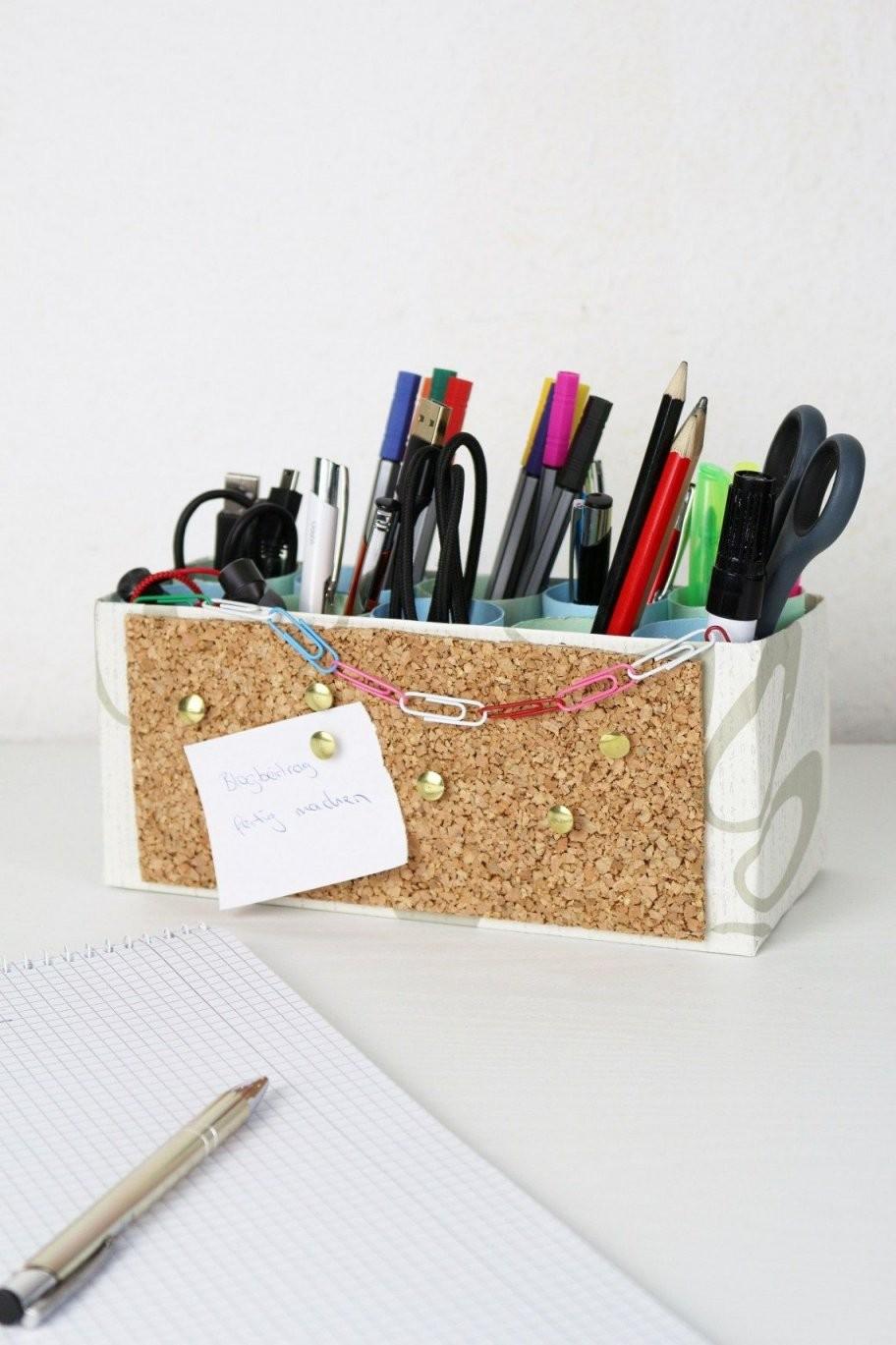 Diy Stiftehalter Mit Integrierter Pinnwand Selber Machen  Büro von Stiftehalter Holz Selber Bauen Photo