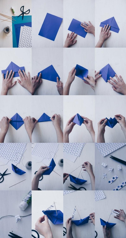 Diy Tischdeko Zur Taufe Mit Booten  Papierboote Falten  Origamit Boote von Taufe Deko Selber Machen Bild