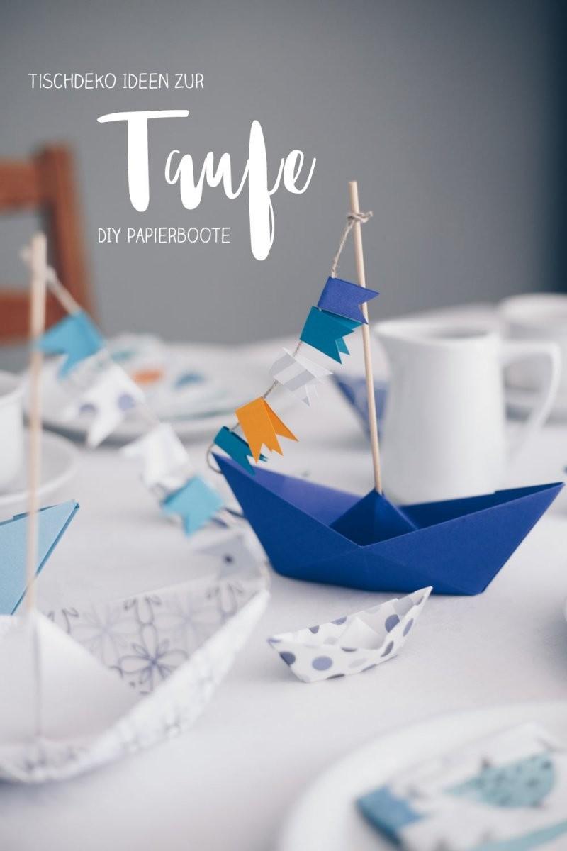Diy Tischdeko Zur Taufe Mit Booten  Papierboote Falten  Origamit Boote von Taufe Deko Selber Machen Photo