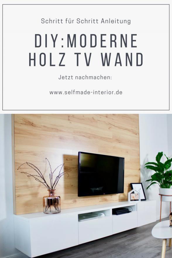 Diy Tvwand Aus Holz Bauen  Obývačka  Tv Wand Holz Tv Wand Und Tv von Holzwand Wohnzimmer Selber Bauen Photo