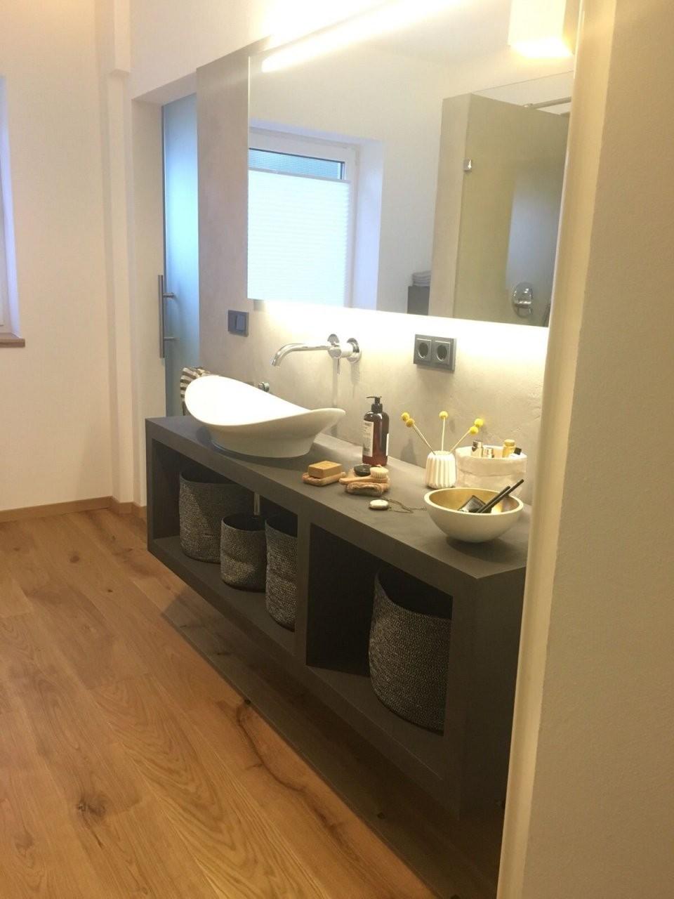 Diy Waschtisch Aus Beton Ciré In 2019  Bathroom  Waschtisch von Waschbecken Platte Selber Bauen Photo
