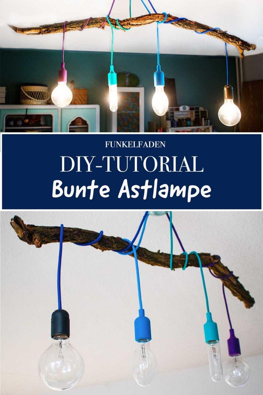 Diylampe  Textilkabel Mit Ast Selber Bauen › Anleitungen Do It von Glühbirne Lampe Selber Machen Bild