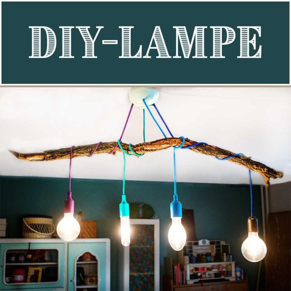 Diylampe  Textilkabel Mit Ast Selber Bauen › Anleitungen Do It von Glühbirne Lampe Selber Machen Photo