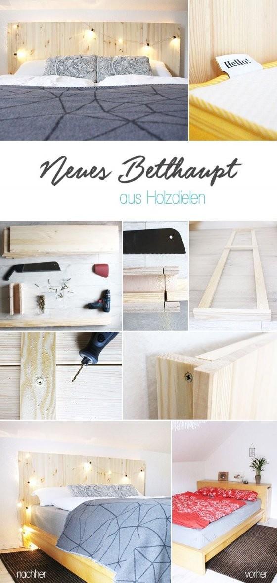 Do It Yourself Selbst Aus Holzdielen Ein Betthaupt Bauen  As Easy von Bett Kopfteil Holz Selber Bauen Bild