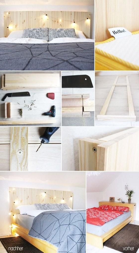Do It Yourself Selbst Aus Holzdielen Ein Betthaupt Bauen von Kopfteil Für Bett Selber Bauen Bild