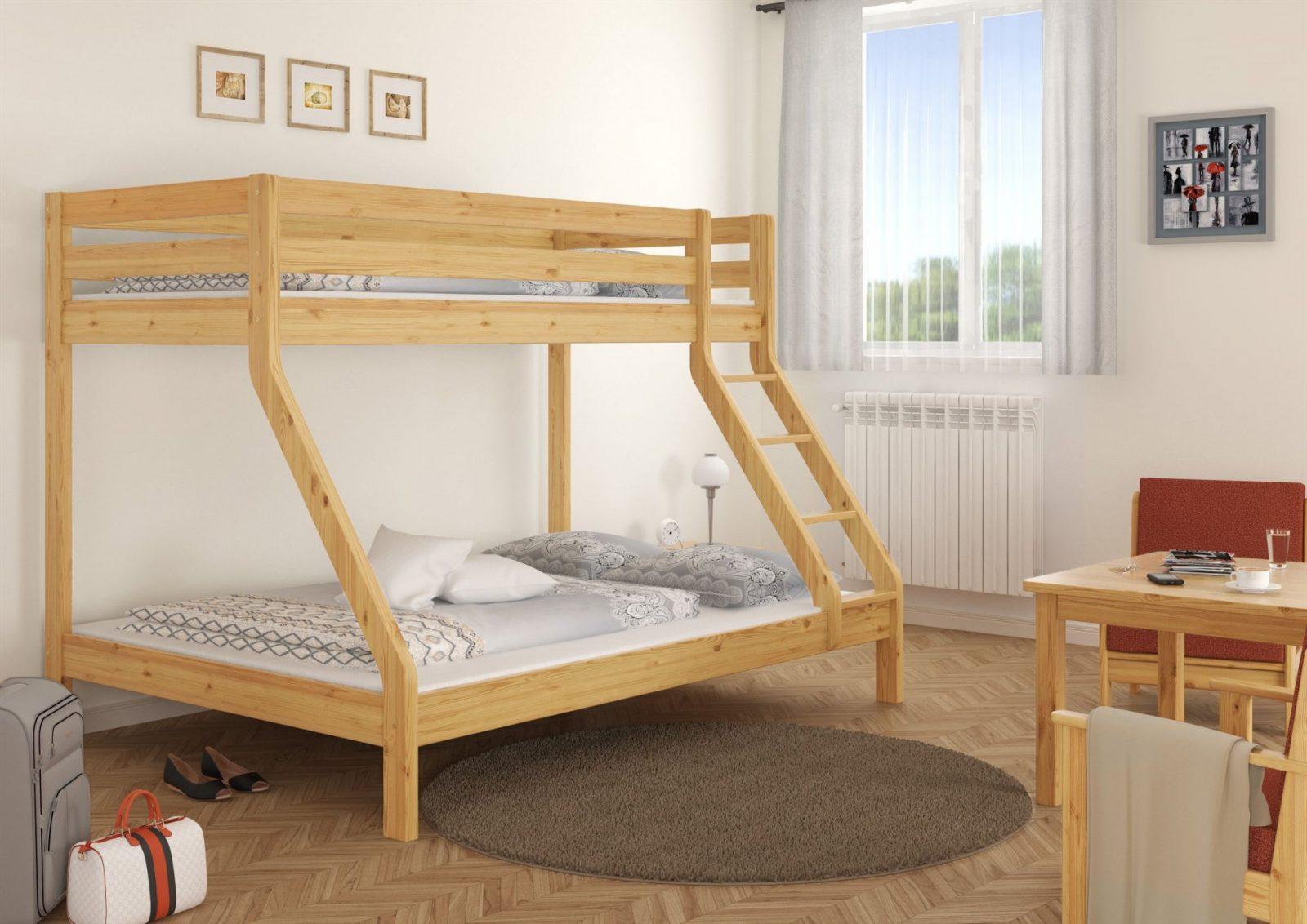 Doppeletagenbett Für Drei Personen 140X200 U 90X200 Für Erwachsene von Hochbett Für Erwachsene 140X200 Bild