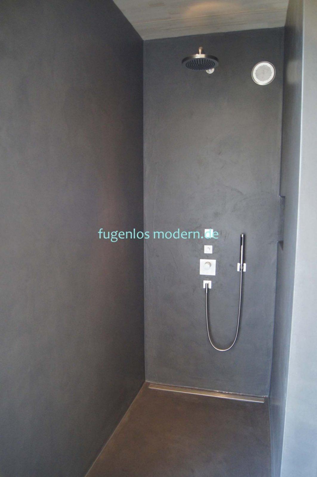 Dusche Ohne Fugen Aus Zement Gespachtelt In Farbton Lavafugenlos von Dusche Wandverkleidung Ohne Fugen Bild