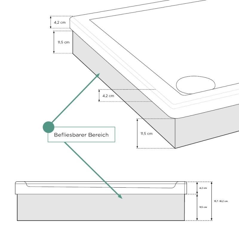 Duschtasse Rechteck  Komplettset  Aquabad® Comfort Basic von Duschwanne 90X90 Flach Mit Träger Photo