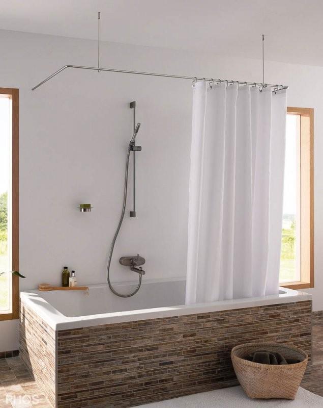 Duschvorhangstange In Lform + Uform Als Winkel von Duschvorhang Mit Stange Für Badewanne Bild