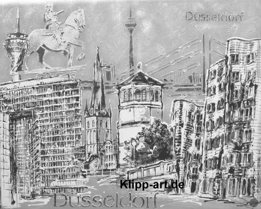Düsseldorf Collage Schwarz Weiß Black  White Kunst A Leinwand von Gemalte Bilder Schwarz Weiß Bild