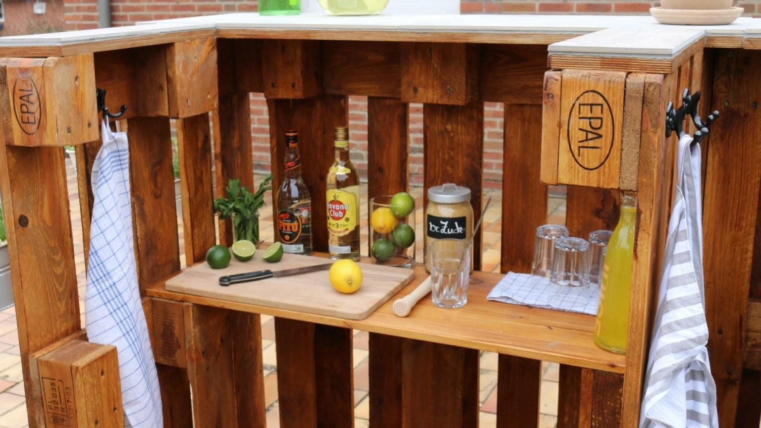 ᐅ Bar Aus Paletten Selber Bauen  Kaufen  Palettenbar von Theke Aus Europaletten Anleitung Photo
