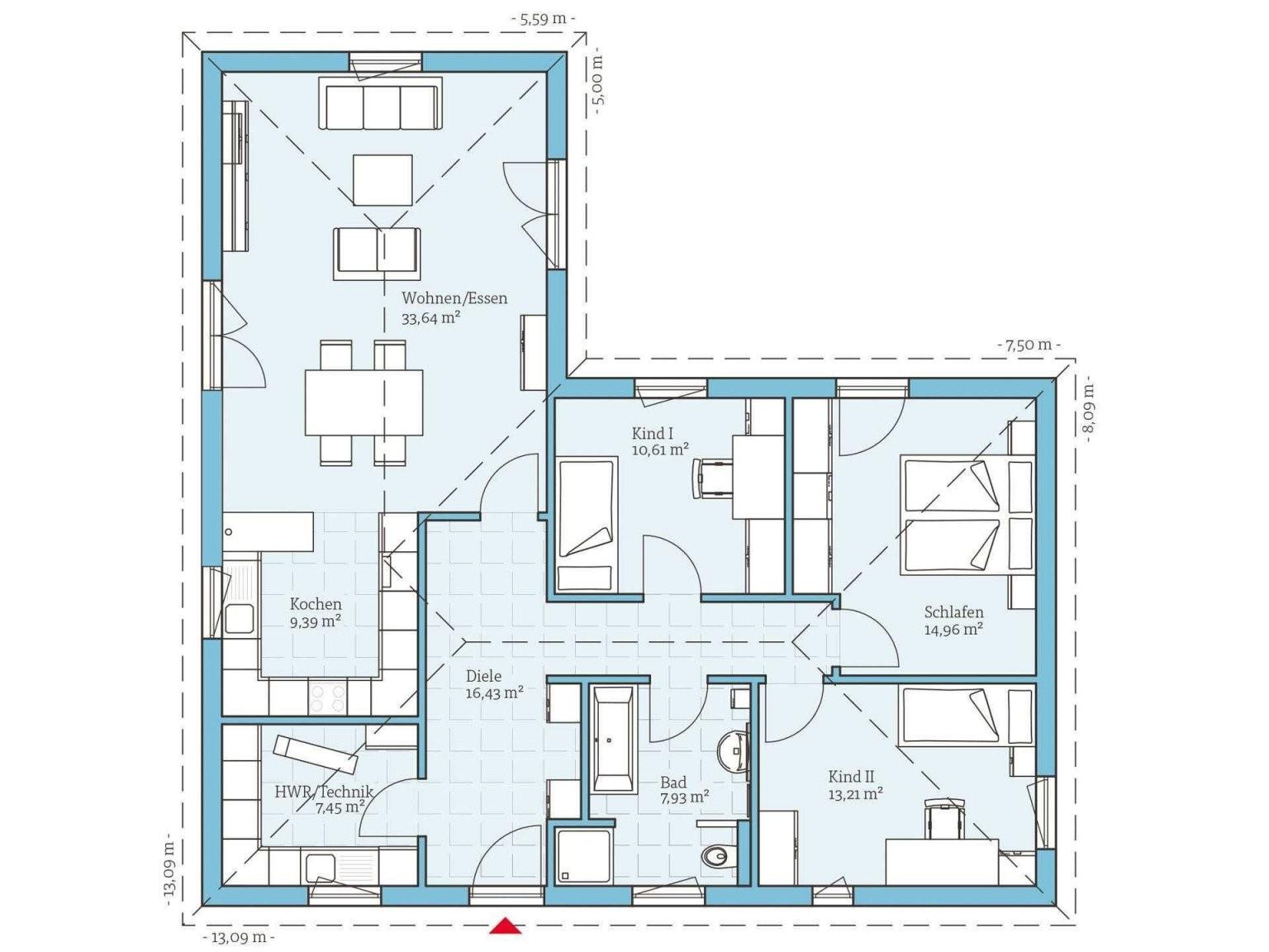 ▷ Bungalow Bauen  Anbieter Preise  Grundrisse Im Überblick von Bungalow L Form Grundriss Bild