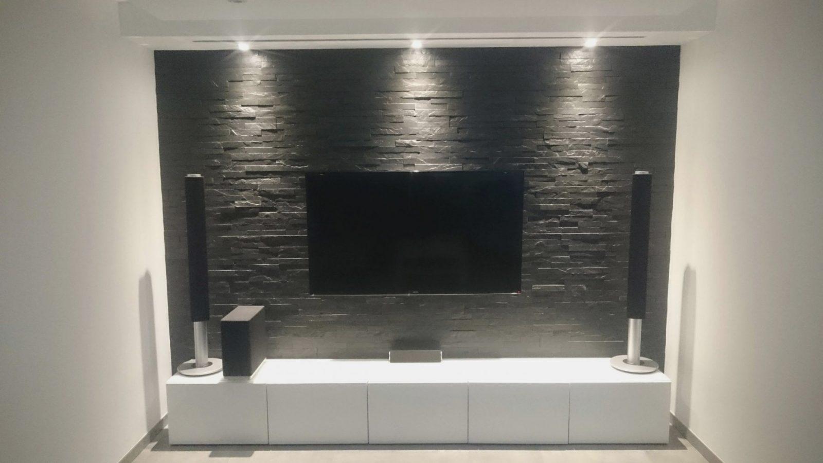 ▷ Multimedia Wohnzimmer Mit Naturstein Verblender Selber Bauen von Led Wand Selber Bauen Photo