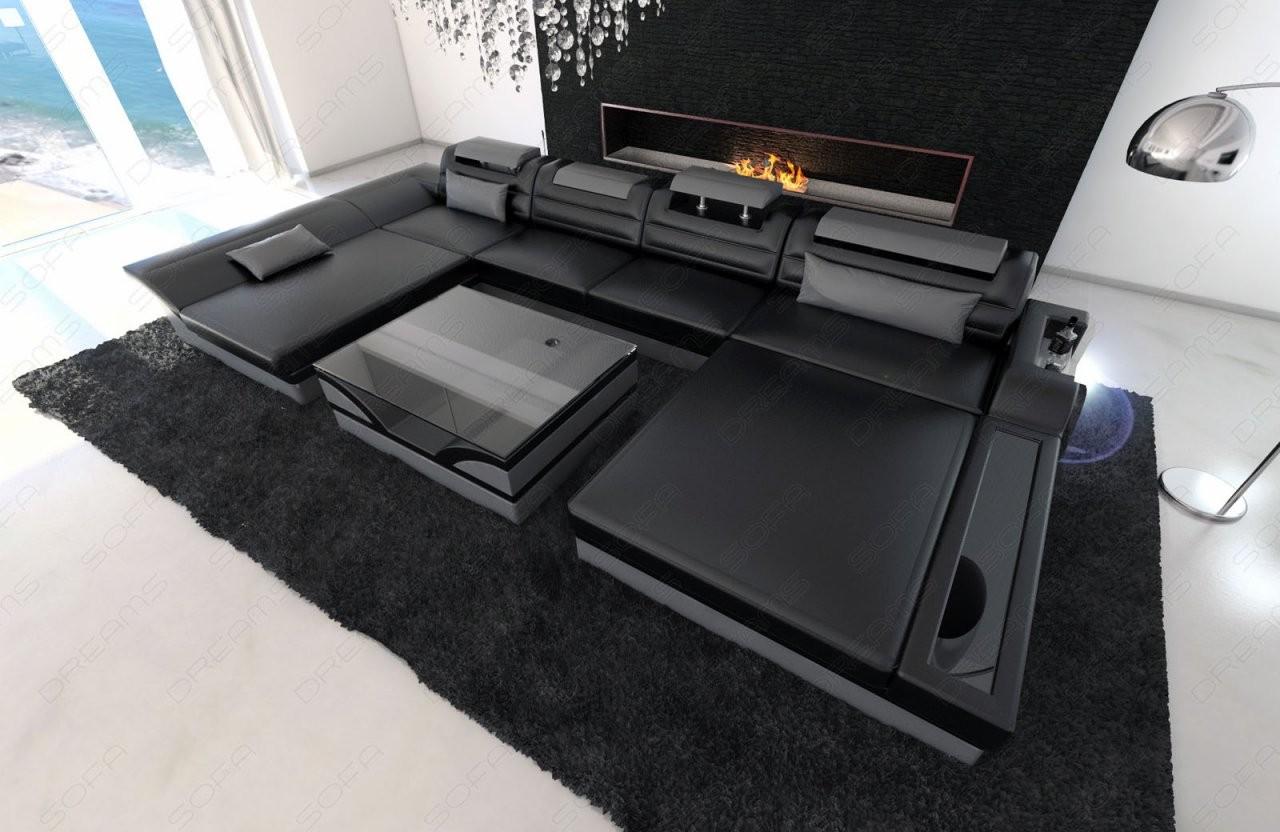 Ecksofa Leder Designer Wohnlandschaft Monza U Form Schwarz Grau Led von Günstige Wohnlandschaft U Form Bild