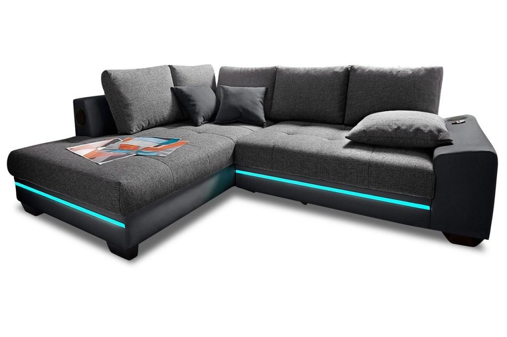 Ecksofa Xl Nikita  Mit Led Und Sound Und Schlaffunktion  Anthrazit von Couch Mit Led Beleuchtung Photo