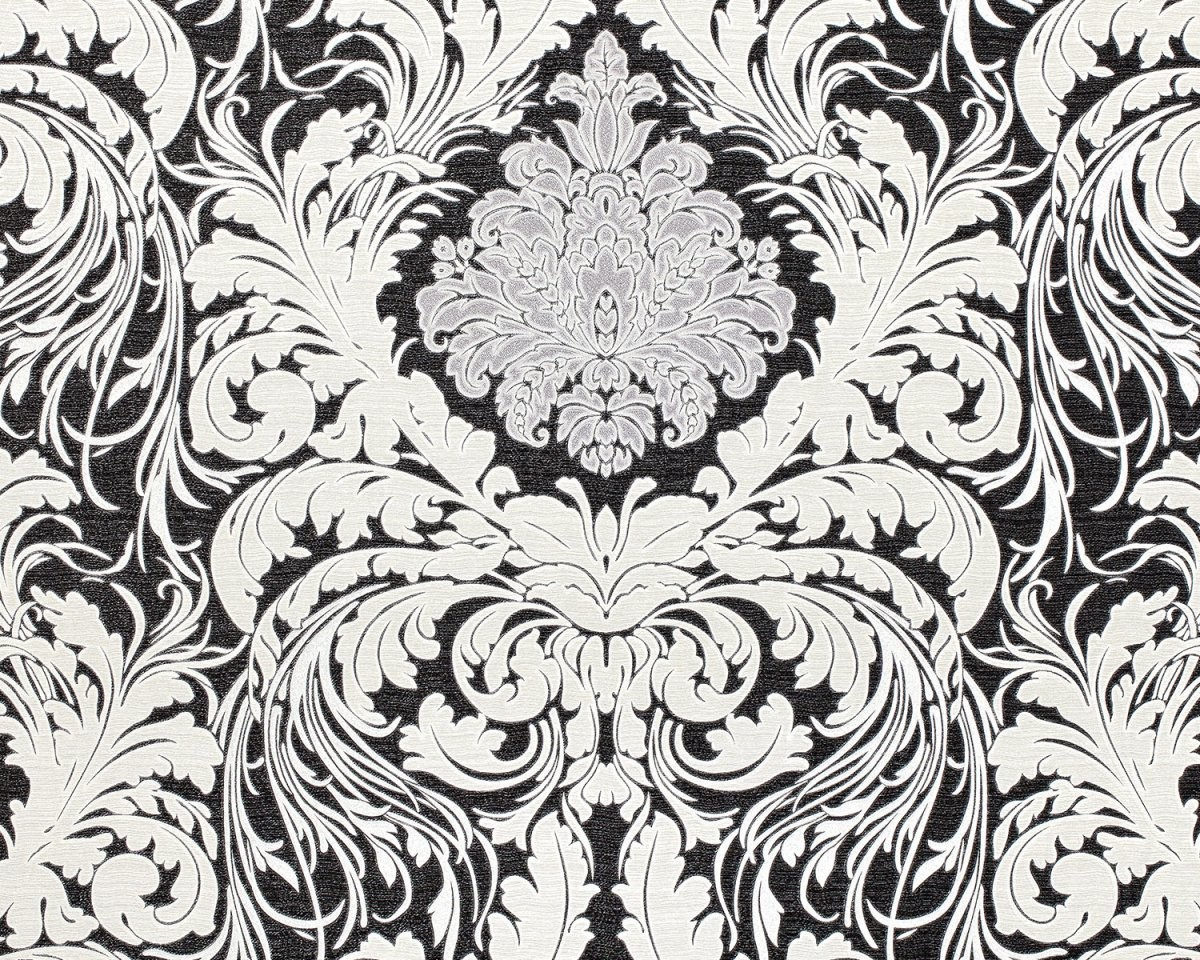 Edem 901730 Barock Tapete Floral Glitzernd Schwarz Cremeweiß von Barock Tapete Schwarz Weiß Bild