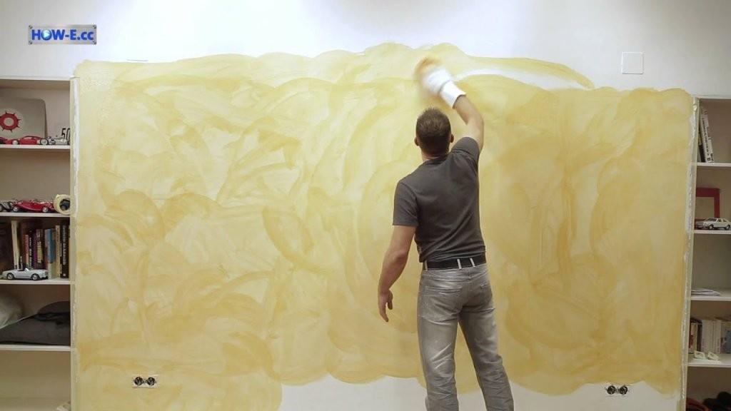 Effektmalen Wischtechnik  So Geht's  Youtube von Wandfarbe Gold Farbe Wandgestaltung Photo