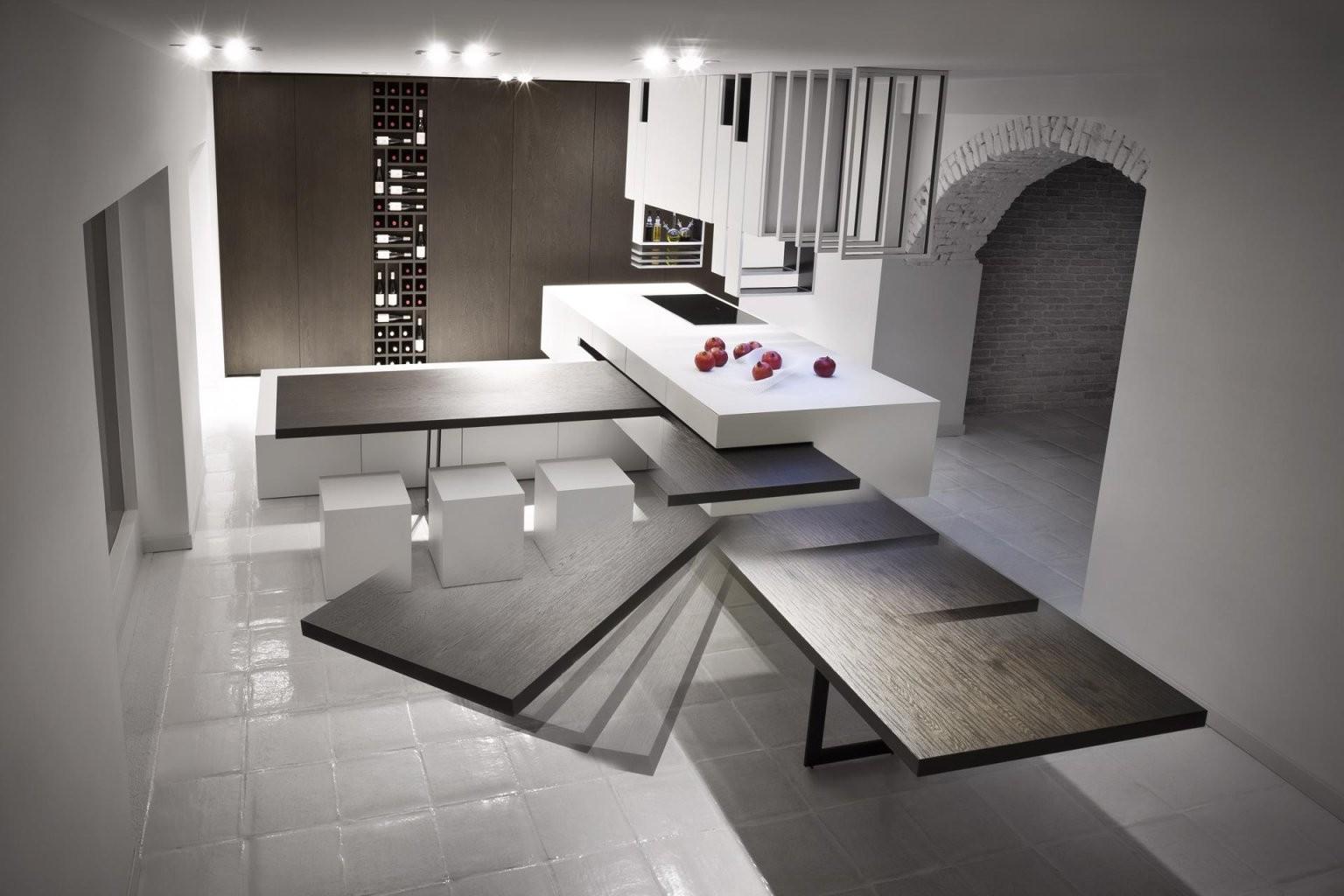 Eine Moderne Kochinsel Für Luxuriöse Küchen  Freshouse von Kochinsel Mit Integriertem Tisch Bild