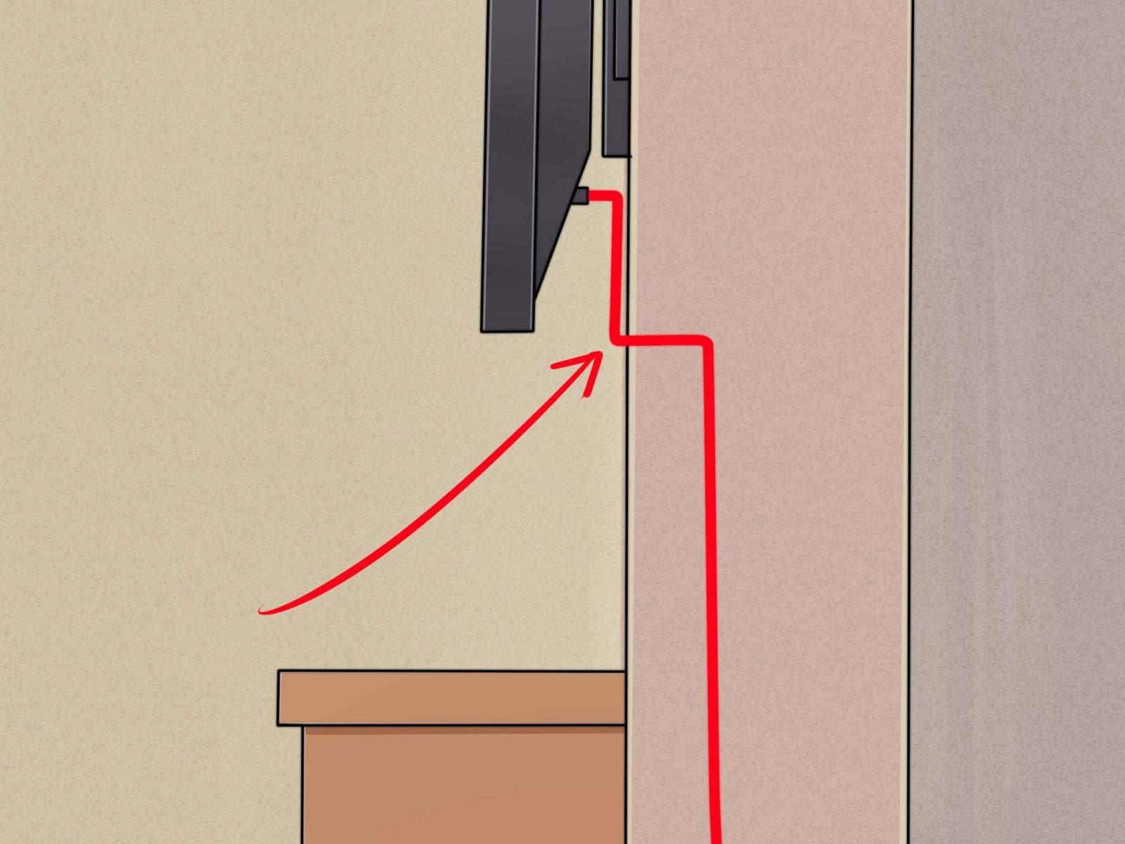 Einen Flachbildfernseher Ohne Sichtbare Kabel An Die Wand Montieren von Fernseher An Die Wand Hängen Kabel Verstecken Photo