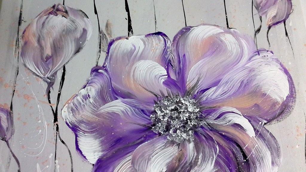 Einfach Malen  Blumen  Acrylmalerei  Easy Painting  Flowers von Bilder Selber Malen Mit Acryl Vorlagen Bild
