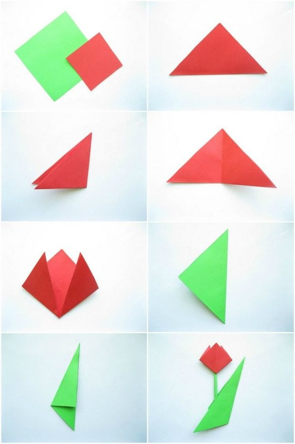 Einfache Origami Tulpe Falten Mit Kindern  Schule  Origami Blume von Einfache Blumen Falten Anleitung Photo