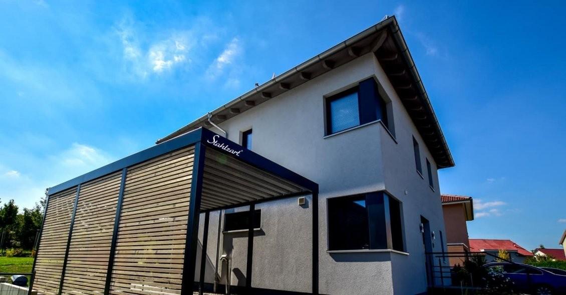 Einzel Carport Am Haus Aus Stahl Holz Metall · Modern · Stahlzart von Carport Am Haus Modern Bild