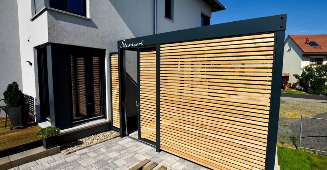 Einzel Carport Am Haus Aus Stahl Holz Metall · Modern · Stahlzart von Carport Am Haus Modern Photo