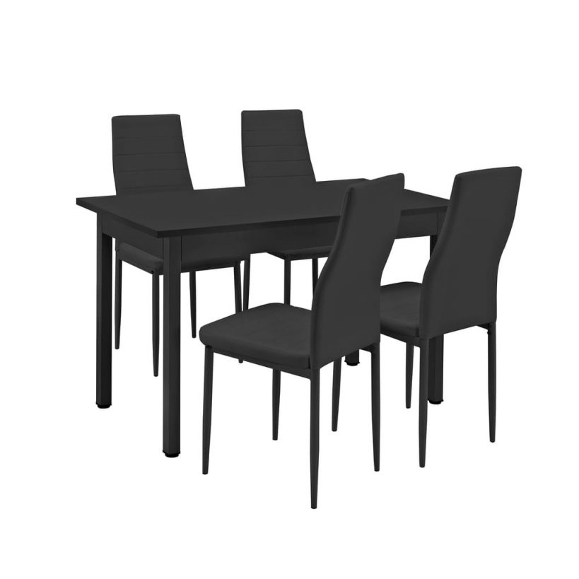 Encasa]® Esstisch Mit 4 Stühlen Schwarz 120X60Cm Kü  Real von Küche Tisch Und Stühle Bild