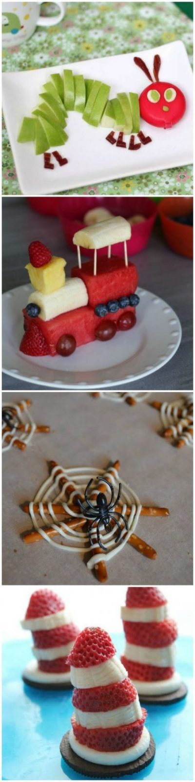 Essen Anrichten Dekorieren Deko Zug Aus Obst Spinnennetz Spinne von Obst Deko Für Kindergeburtstag Bild
