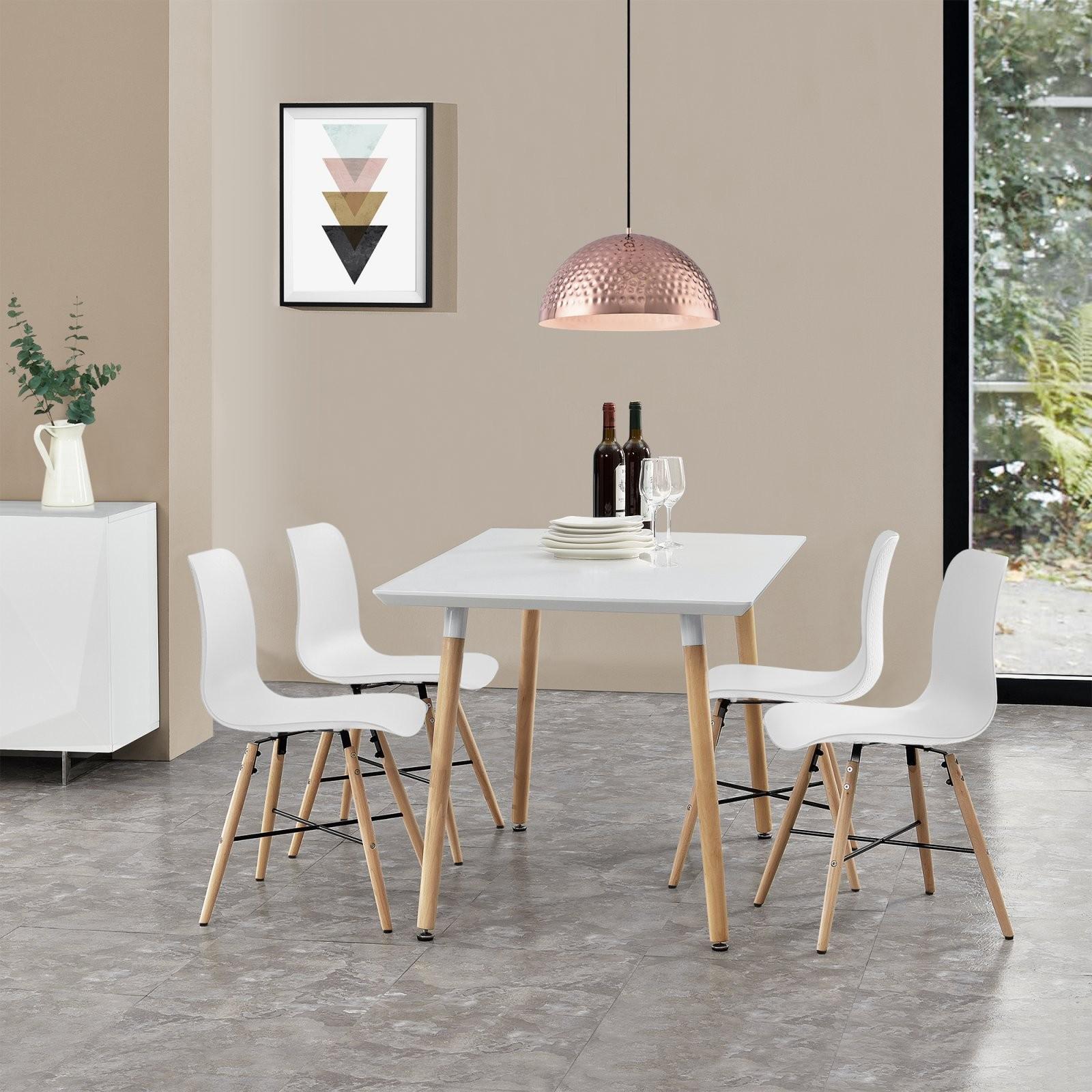Esstisch Mit 4 Stühlen Weiß 120X70Cm Küchentisch Stühle Mit Muster von Küche Tisch Und Stühle Bild