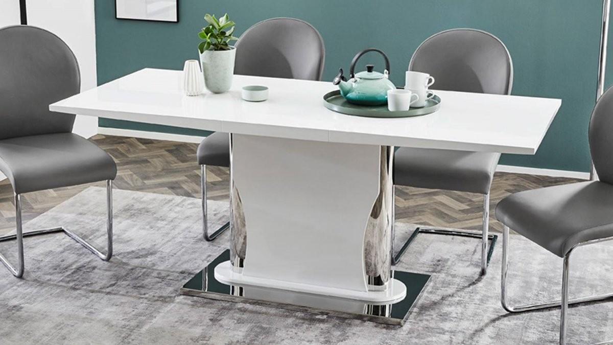 Esstisch Nekos Tisch Esszimmertisch Weiß Hochglanz Ausziehbar 140180 von Esstisch Ausziehbar Weiß Hochglanz 140 Photo