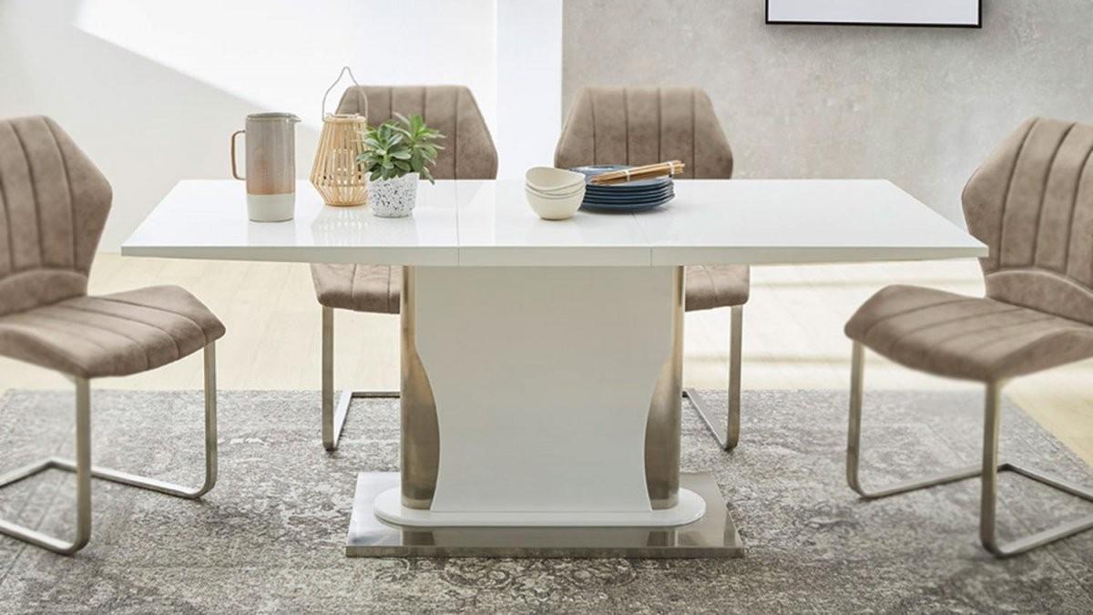 Esstisch Nils Tisch Esszimmertisch Weiß Hochglanz Edelstahl 140180 von Esstisch Ausziehbar Weiß Hochglanz 140 Bild