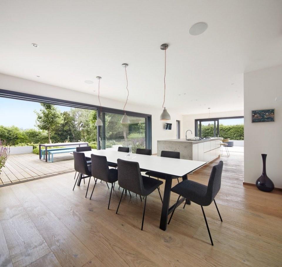 Esszimmer Modern Mit Offener Küche  Ideen Einrichtung Designhaus von Wohnzimmer Mit Küche Ideen Bild
