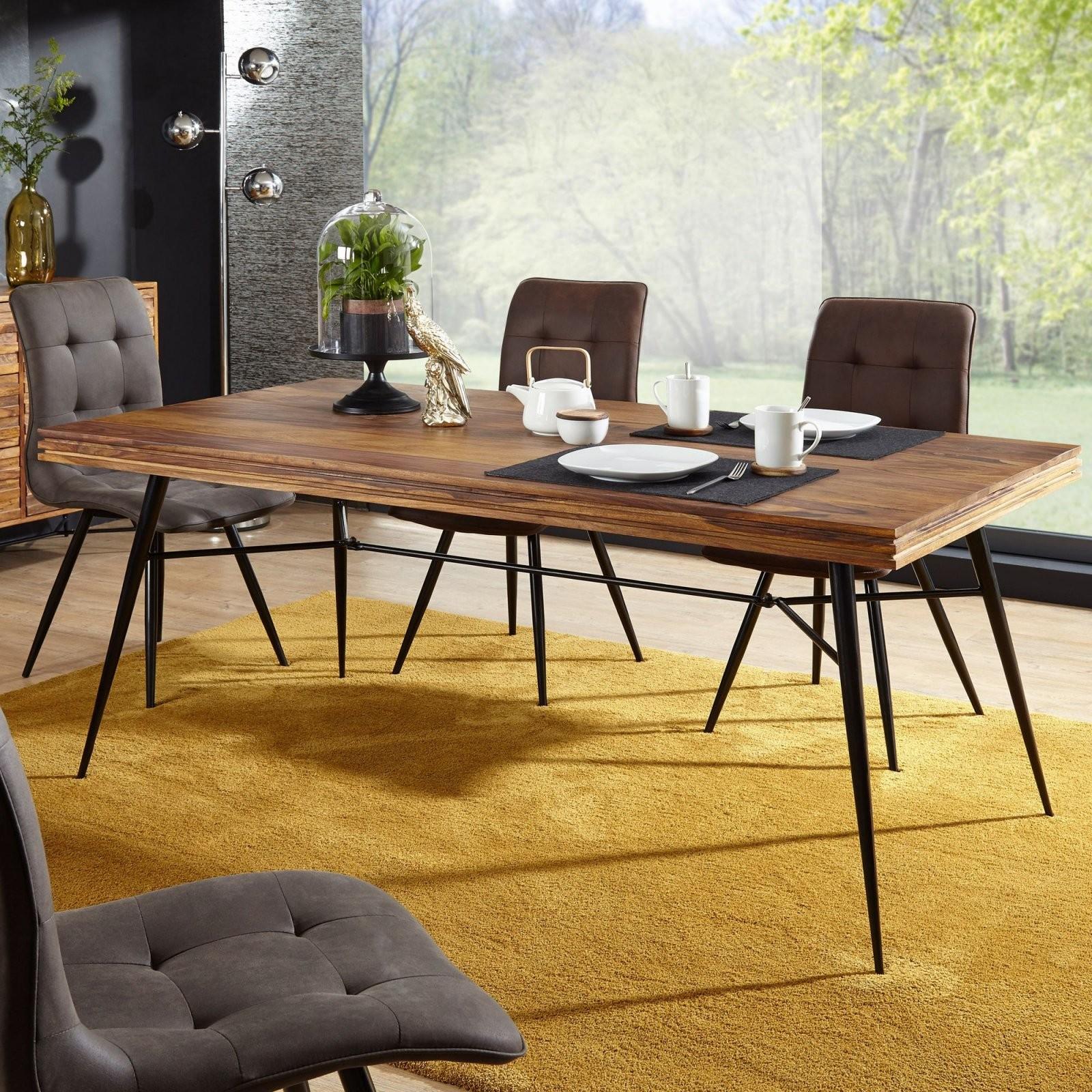 Esszimmertisch Holz 200X77X100 Cm Günstig Kaufen von Tisch Mit Metallgestell Und Holzplatte Photo