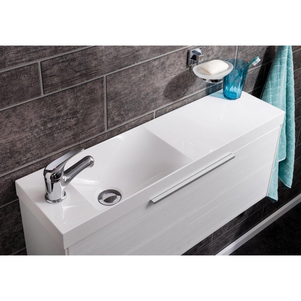 Fackelmann Designwaschbecken 80 Cm Scera Slim Weiß Kaufen Bei Obi von Waschbecken 35 Cm Tief Photo