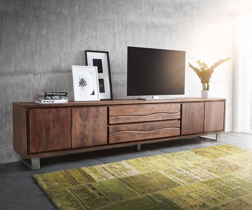 Fernsehtisch Liveedge Akazie Braun 300 Cm 4 Türen 2 Schübe von Tv Lowboard 300 Cm Bild
