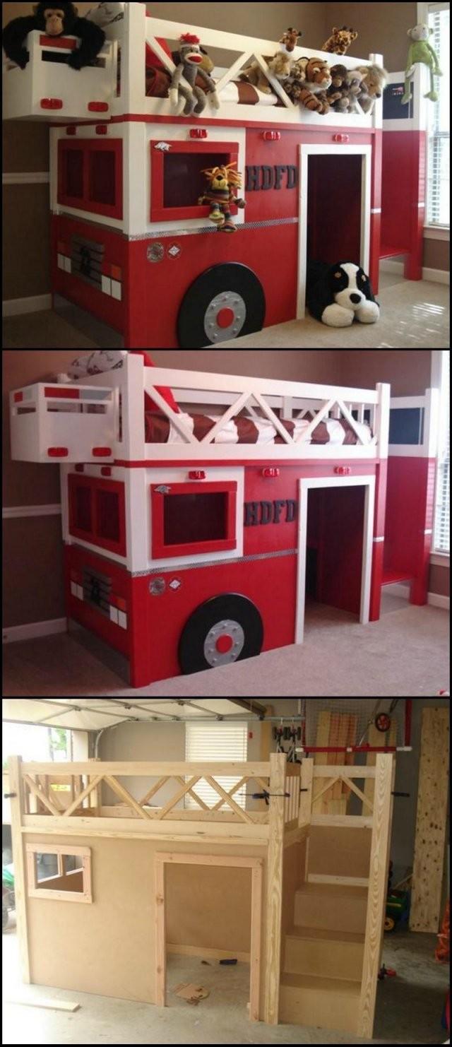 Feuerwehr Bett Selber Bauen  Diy Möbel Für Das Kinderzimmer von Kinderbett Selber Bauen Auto Photo